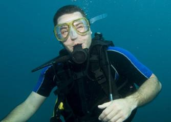 head shot of scuba diver