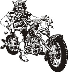 Biker on Motorcycle.