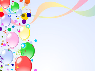 colored background with balloons