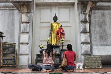 Thai people worship buddha at stupa, North-East of Thailand