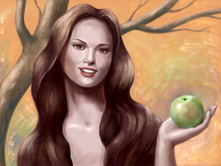 Beautiful woman with green apple in the hand