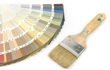 Color swatch with indoor colors and paintbrush