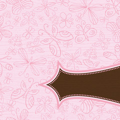 grunge wooden pink background with pattern of hand draw  butter