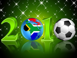 Football 2010 background with soccer ball and stars