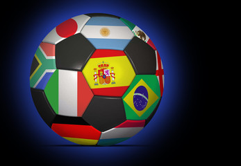 soccer ball with nation flags