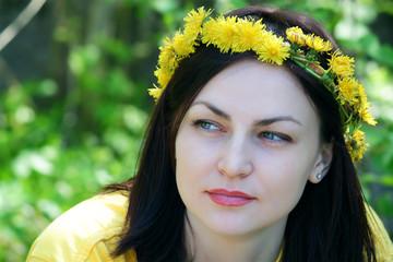 Wreath on a head of the girl