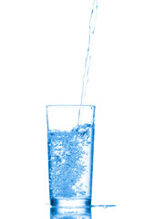Water in a glass isolated on white background