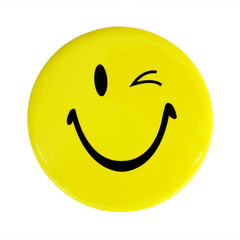 Yellow happy face button