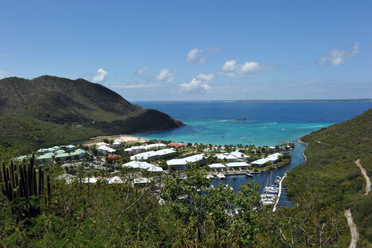 view from atop Marcel Cove, St Martin French side, West Indies