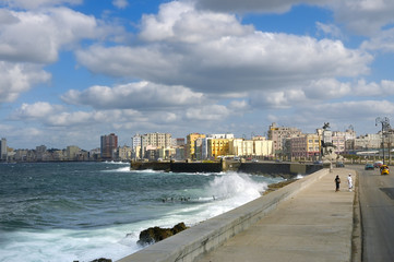 Cityscape from Havana Malecon, Cuba.