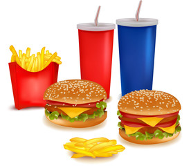 Photo-realistic vector. Very big group of fast food products.