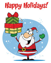 Happy Holidays Greeting With Santa Holding Gifts