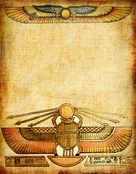 old paper background with egyptian decoration
