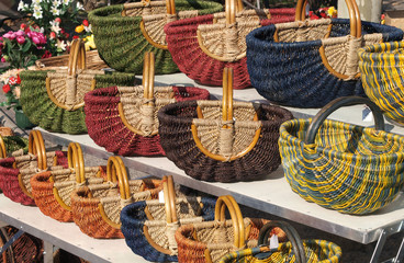 Baskets at a market in Provence