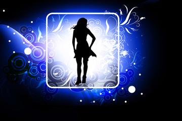 Cute girl in abstract background