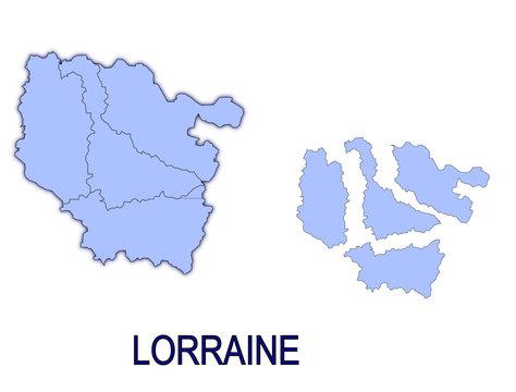 carte région lorraine France départements contour