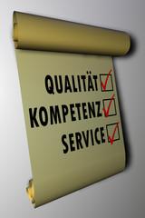 Service - Qualität - Kompetenz - Schriftrolle 01
