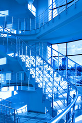 Blue stair in modern office centre