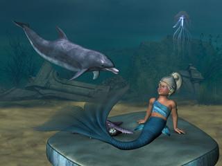 Photo sur Aluminium Mermaid little Mermaid