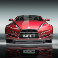 Red sports car. My own car design.
