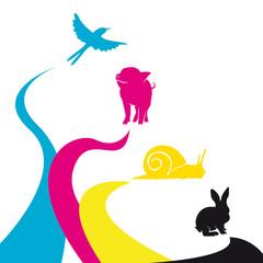 Animaux imprimés avec les couleurs primaires