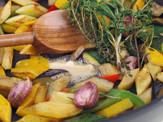 mediterranean vegetables cooking in a pan