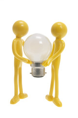 Miniature Figures with Light Bulb