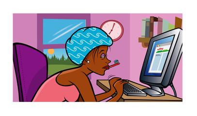 girl blogging morning