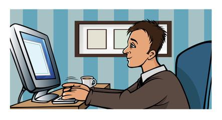 man blogging computer