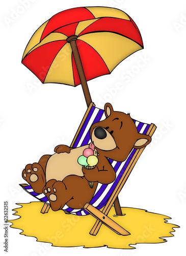 Sonnenschirm strand comic  Bär, Teddy, Teddybär, Urlaub, Ferien, Strand, Südsee
