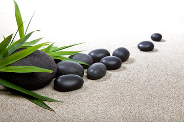 Obraz Ambiance zen - pierres noires et bambou - fototapety do salonu