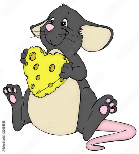 Maus Ratte Kase Herz Liebe Valentinstag Verliebt Stockfotos
