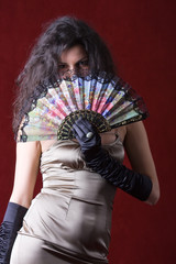 Woman with a chinese fan