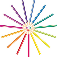 Pencils of different color for drawing, vector illustration