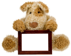 empty photo frame with toy