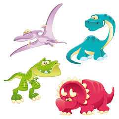 Dinosaurs Family. Funny cartoon and vector characters