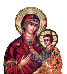 russian icon of 19th century, Virgin Mary and Jesus