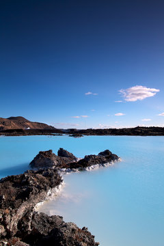 Milky white and blue water of the Blue Lagoon, Iceland