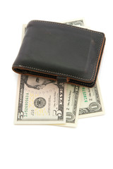 leather wallet with money isolated on white background