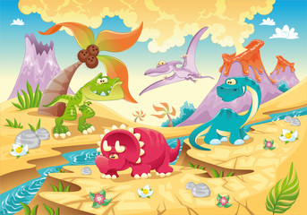 Poster de jardin Dinosaurs Dinosaurs Family. Funny cartoon and vector characters