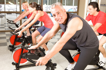 Spinning in a fitness studio