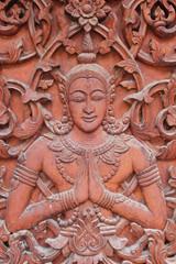 Carving on the door of temple, Borabue, Mahasarakam