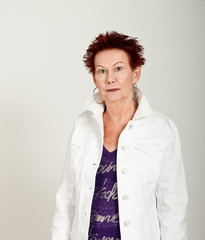 Older Woman Funky Hair White Jacket Half