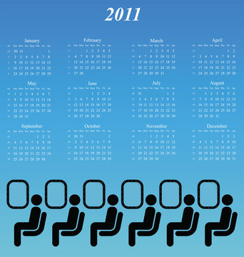 2011 calendar with an abstract airline passenger theme