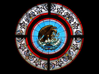 Mexican coat of arms as a stained glass window