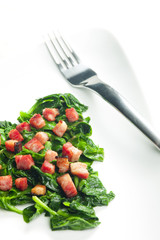 fried spinach with bacon