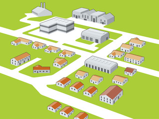 Generic town, suburban and business