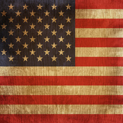 wood flag of usa
