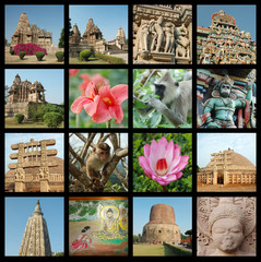 Go India collage - background with travel photos of India