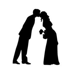 wedding siluet, kiss